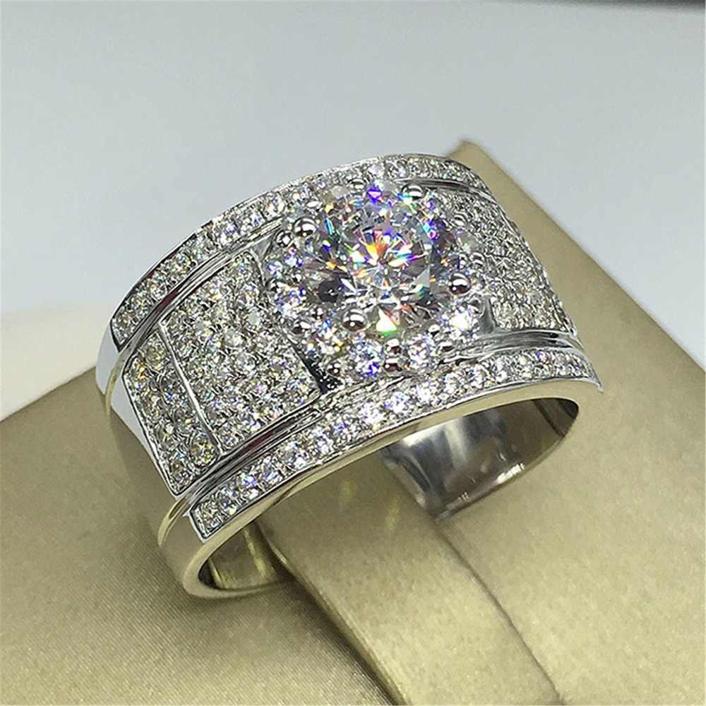 Роскошное мужское женское большое обручальное кольцо, мода 925, серебряное кольцо с цирконом, женское винтажное обручальное кольцо