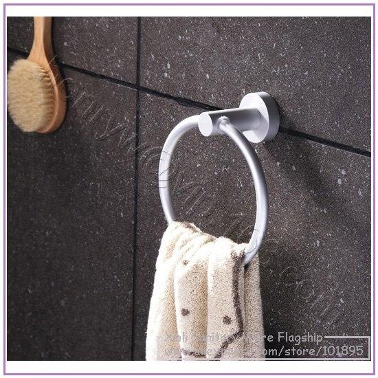 X16460-Роскошные Настенные алюминиевые аксессуары для ванной комнаты, включая туалетную корзина для салфеток держатель с кольцом для полотенец и мыльницей - Цвет: Towel Ring