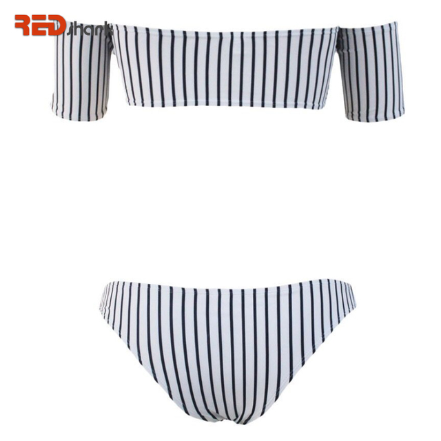 d00549c12c731 REDshark 2017 Summer New Hot Sexy Off Shoulder Women Bikini Set Swimsuit  Brazilian Black White Striped Swimwear Beachwear