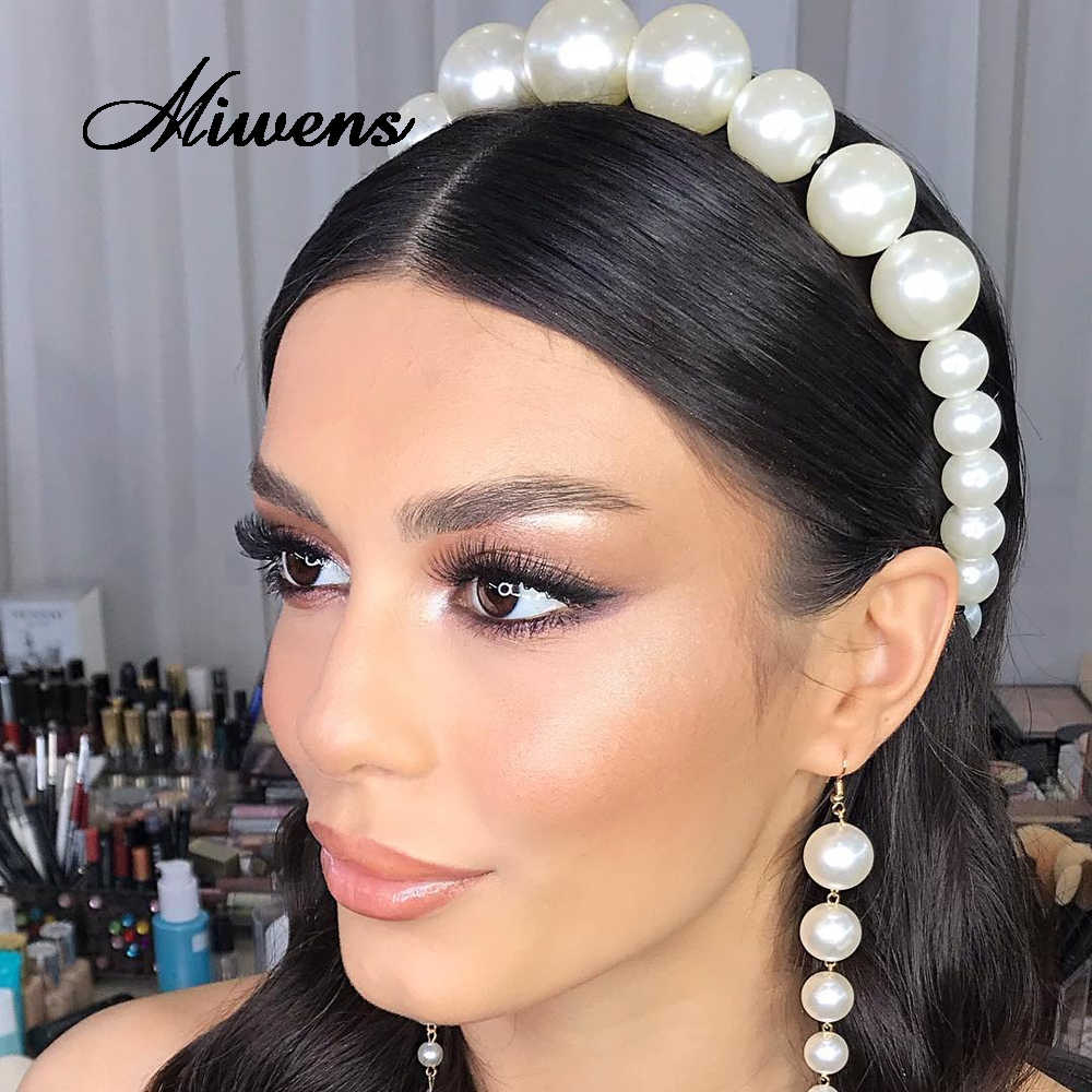 Miwens 67 Designs Full Pearl Headbands For Women Summer Trendy Velvet Hairbands Bridal Head Bands Headwear Bohemia Party Jewelry