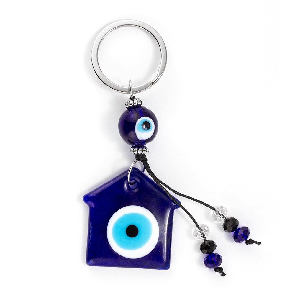 Evil Eye 1Pcs Blue Evil Eye Keychain Charm DIY Pendant Key Chains Gift Fashion Lucky Turkish Greek Pendant Keychain EY186