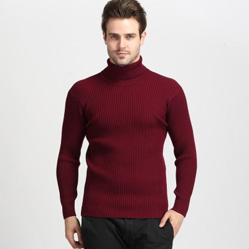 Pull d'hiver de haute qualité hommes tricots Pull Slim col roulé marque vêtements pour hommes chandails rayés mince Pull masculin