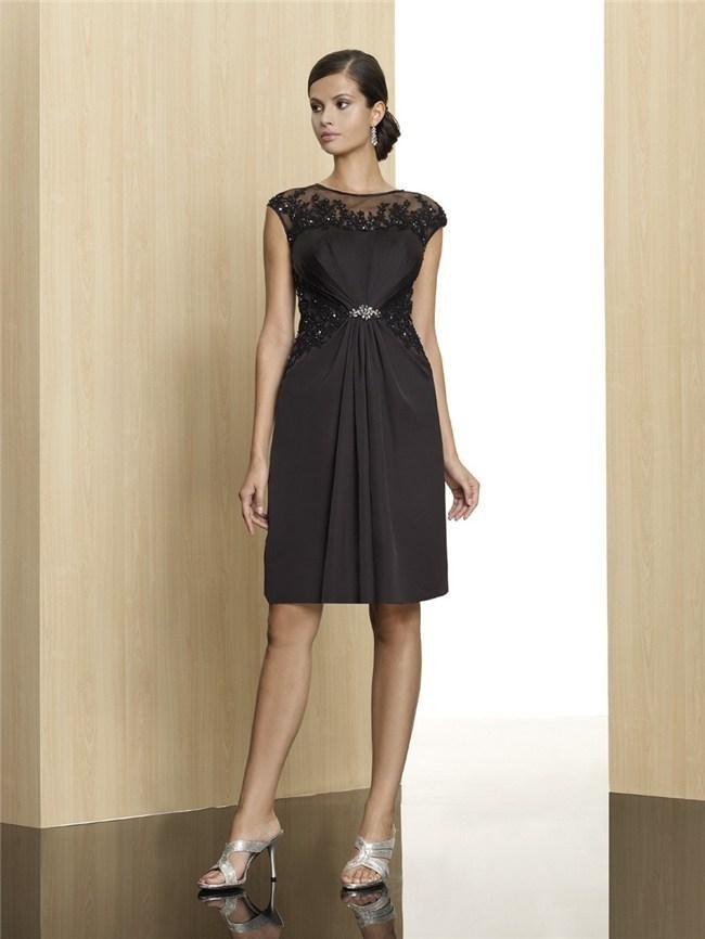 2015 отвесные совок образным вырезом из бисера маленькое черное платье короткие коктейльные платья с аппликацией молния назад короткие плат