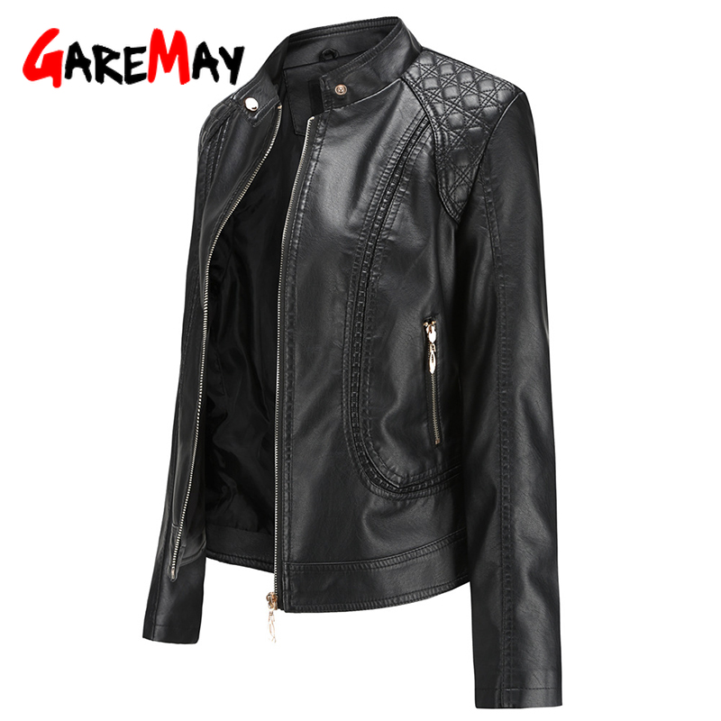 Garemay Jacket Women Short Long-Sleeve Female Pu Autumn Winter Plus-Size