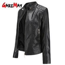 Garemay Fauxหนังเสื้อผู้หญิงแขนยาวPuฤดูใบไม้ร่วงฤดูหนาวหญิง2020 Plusขนาดเสื้อหนังสั้นสำหรับสตรี