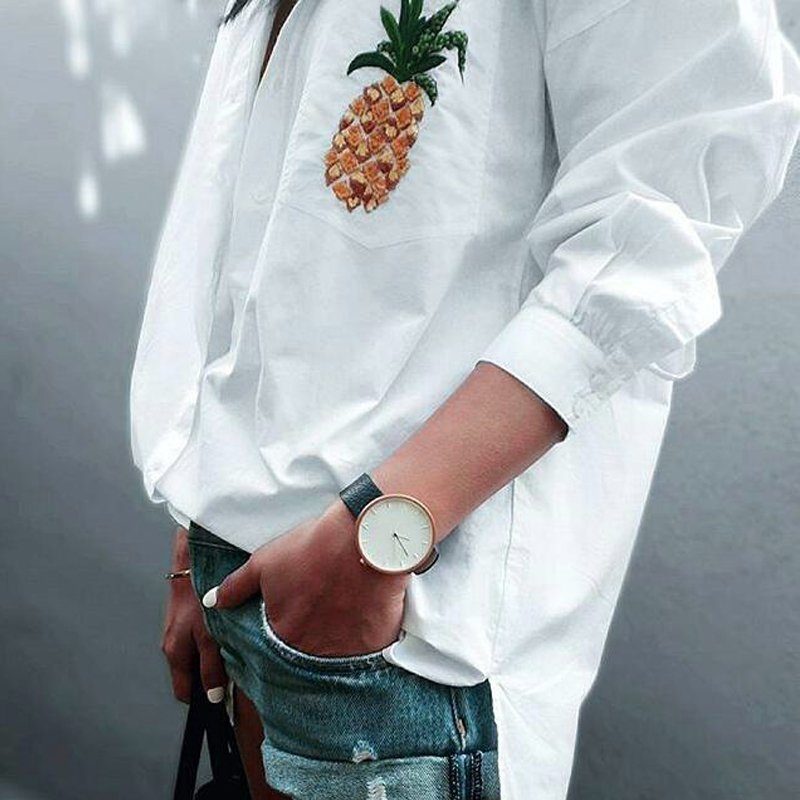 2018 Hot Sale New Fashion Women Sexy Ladies Long Sleeve Pineapple Embroidery V Neck White Tops Women Tops Clothing