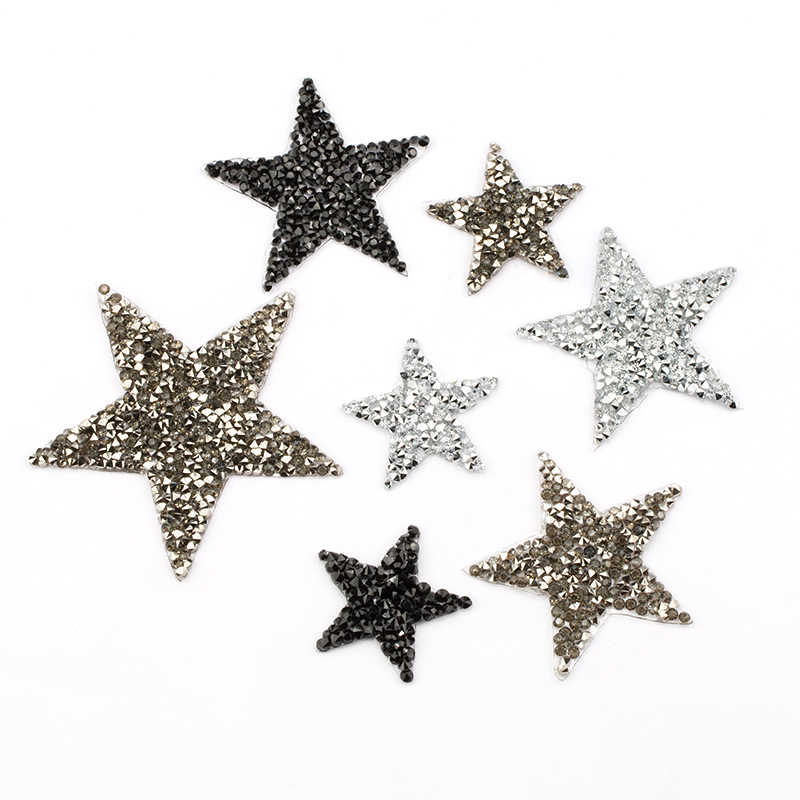 4 Cm 6 Cm 8 Cm 5 Buah 10 Pcs/lot Hotfix Berlian Imitasi Bintang Patch Potong Besi Pada Patch Bordiran Dekorasi DIY Sepatu tas Pakaian