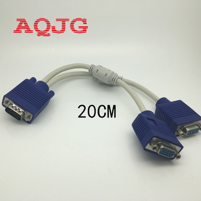 VGA 15 Pin PC SVGA Male to 2 Dual Double Female Monitor Y Adapter Splitter Cable 20cm Vga Male to Vga female Wholesale  computer rp sma female to y type 2x ip 9 ms156 male splitter combiner cable pigtail rg316 one sma point 2 ms156 connector for lte yota