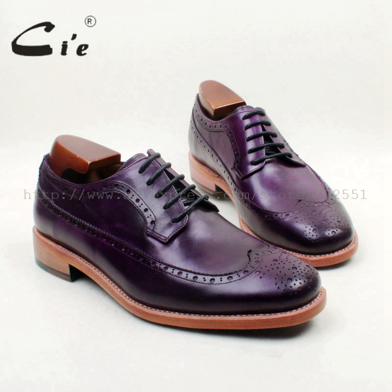 cie Free Shipping Bespoke Handmade Round Toe Full Brogues Lace-up Derby Hand-Painted Purple Calf Leather Breathable Casual D223 cie free shipping handmade tassels round toe full brogues slip on loafer calf leather men shoe leather bottom breathableloafer79