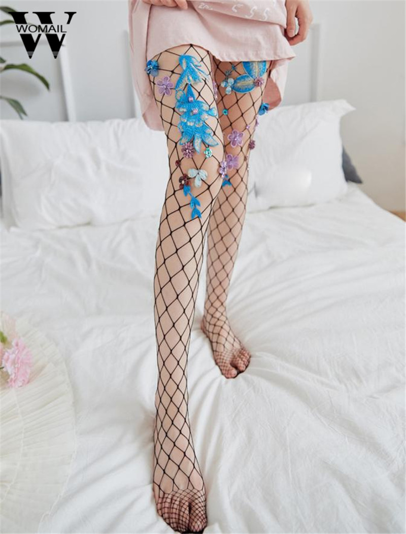 Sexy Floral Transparent Tights Women Girls Sheer Fishnet Footed Tights Mesh Pantyhose