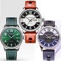 42 мм Parnis черный зеленый циферблат сапфировое стекло окошко даты люксовый бренд 21 jewels Miyota Автоматический ход мужские часы