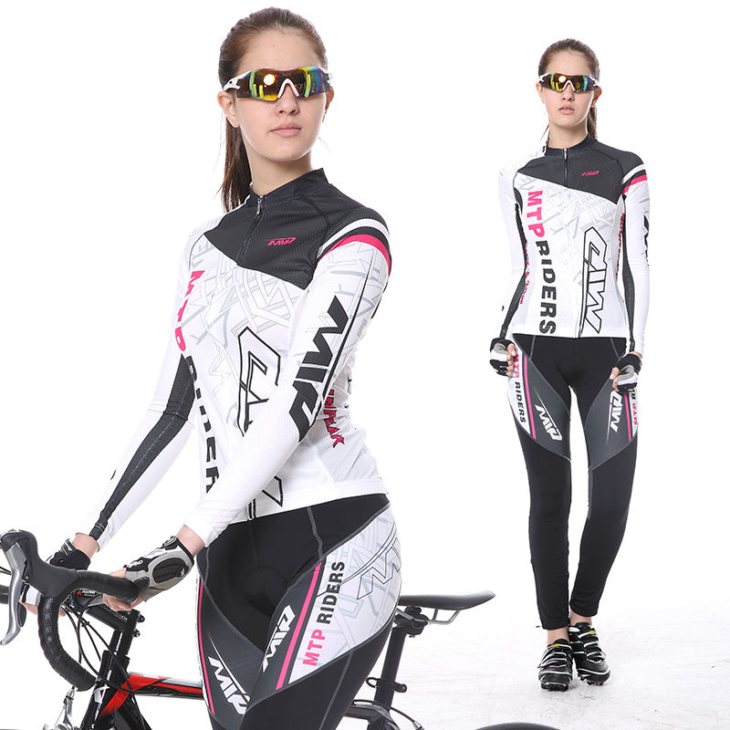 2017 New Spring Long Sleeve Woman UV Protect Cycling Jerseys Suit Mountain Bike Quick Dry Breathable Riding Jersey Clothing Sets 2016 couple long sleeve bike riding jerseys sets quick dry gel breathable pad stretchable 3d cutting cycling clothing equipment