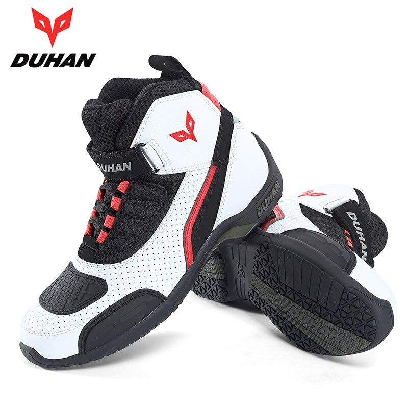 Weiß schwarz farbe DUHAN motorrad stiefel ritter schutz motocross motorrad schuhe größe 41-42-43-44-