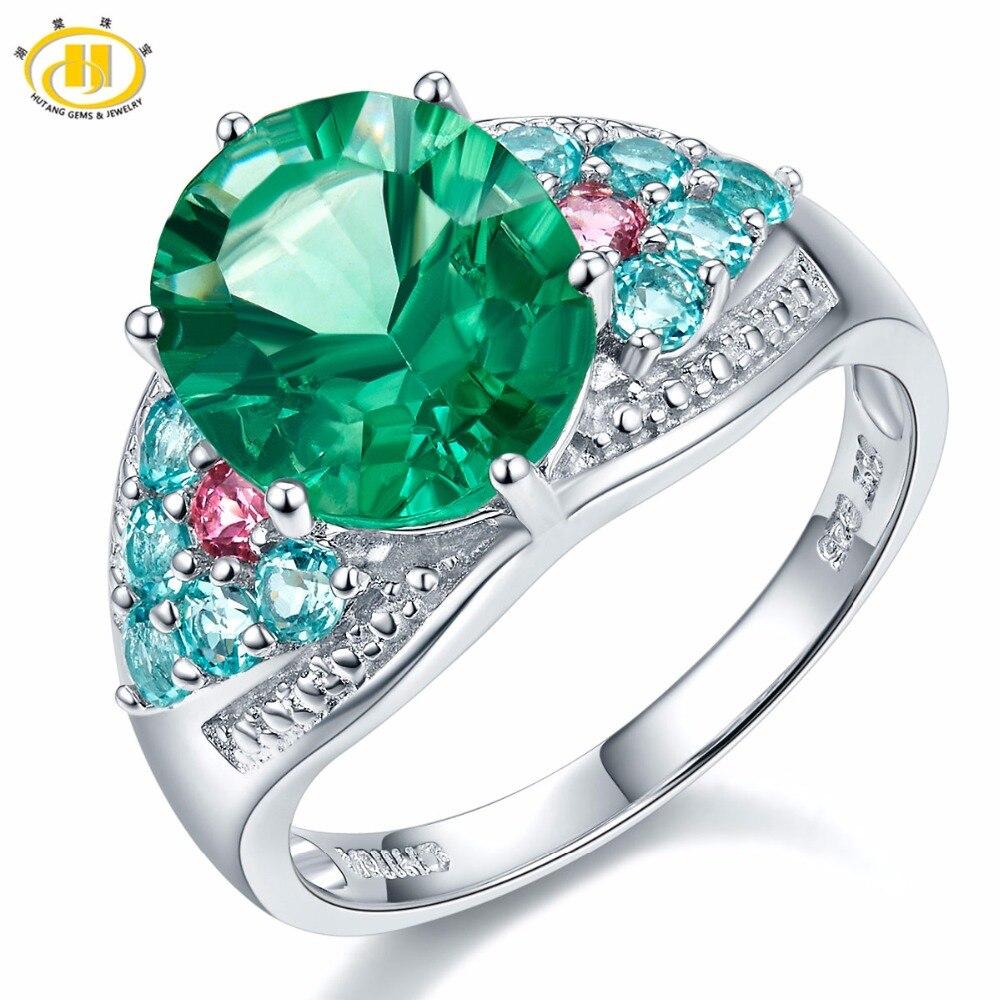 Здесь продается  Hutang Brand Big Green Fluorite Apatite Tourmaline Diamond Rings for Women 925 Sterling Silver Jewelry Engagemet Midi Ring Gift  Ювелирные изделия и часы