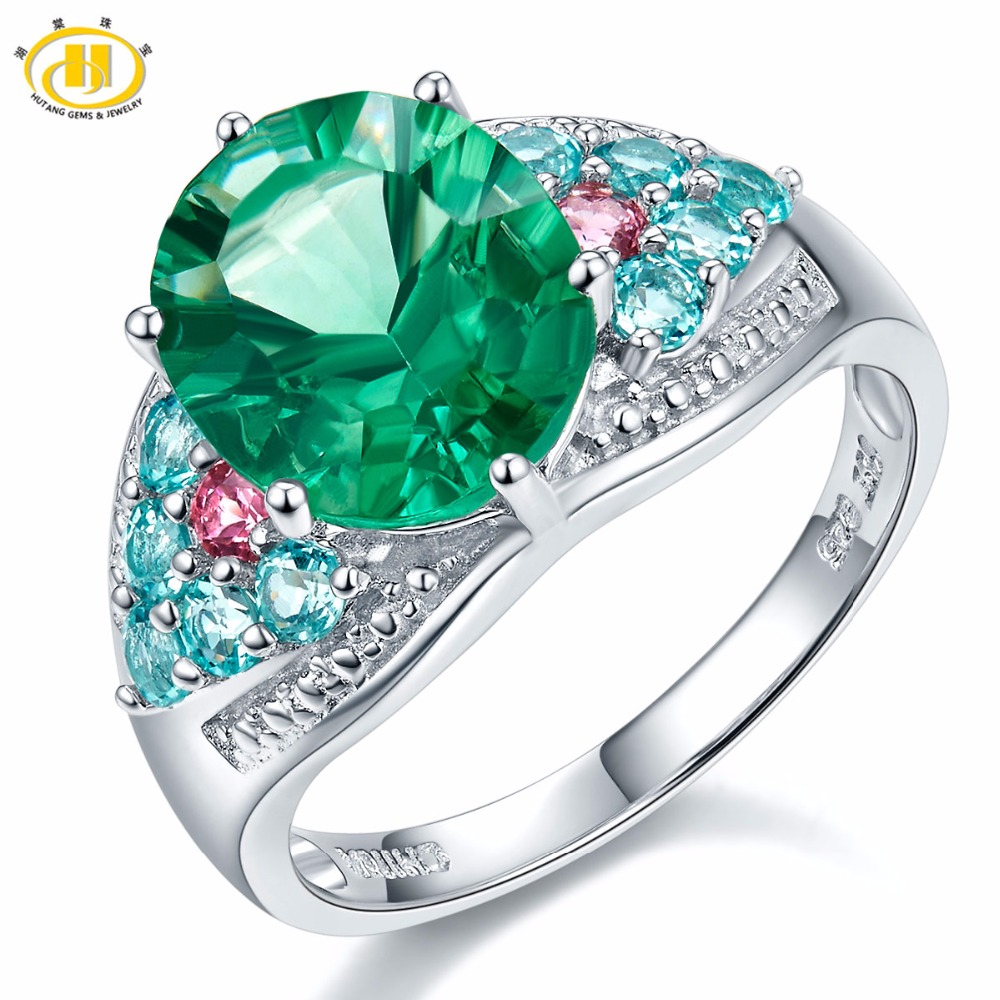 Hutang Ct Genuine Green Fluorite Apatite Tourmaline Sterling Silver Cocktail Ring Women