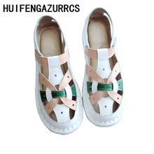 HUIFENGAZURRCS-Summer new style literature and art RETRO womens shoes,Original hand-made breathable Genuine leather sandals