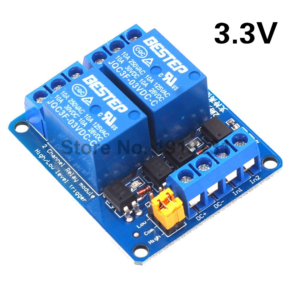 <font><b>3.3V</b></font> 2 Channel <font><b>Relay</b></font> Module High and Low Level Trigger Dual Optocoupler Isolation <font><b>3.3V</b></font> <font><b>Relay</b></font> Module image