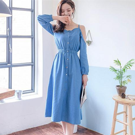 Denim Dress Women 2017 Autumn Korean Style Vintage Off Shoulder High Waist Casual Long Blue Jeans Dress vestidos jeans 1377