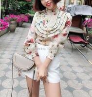 WISHBOP 2018 Summer Woman Silk Organza MISCHIEF TUCK FRILL BLOUSE Floral Print Black Bead Trim Pleated detail yoke stand collar