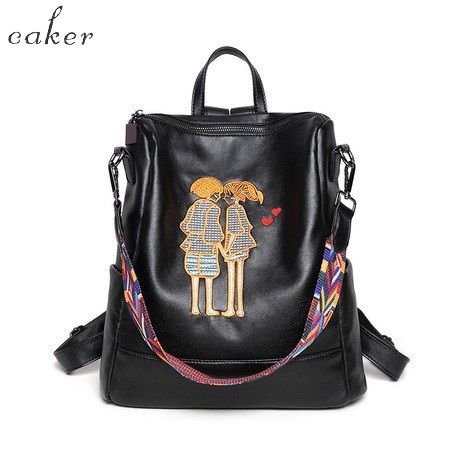 Caker 2017 Fashion Women Preppy Style PU Backpack Lady Black Hand Made Embroidery Cartoon School Shoulder