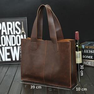 Image 4 - New Vintage Leather Briefcases Men Messenger Bag Brown/Black Luxury Business Briefcase Document Lawyer Laptop Bag Wholesale