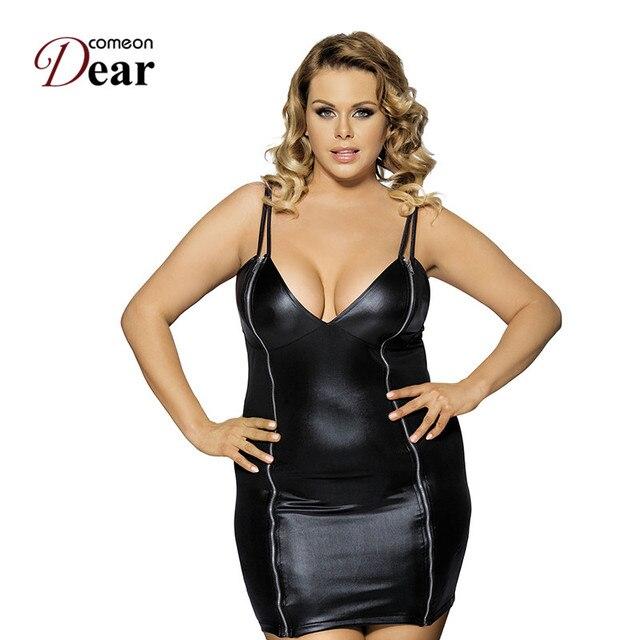 Comeondear RA7858 Plus Size Sleeveless Zipper Faux Leather Dress ...