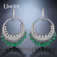 UMODE Fashion Big Round Ethnic Dangling Drop Earrings for Women Green Clear CZ Wedding Dress Accessories Pendientes Mujer UE0274