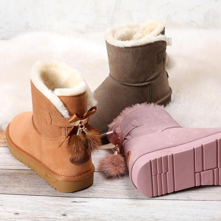 Image 2 - Snow Boots Women Shoes Woman Boots Winter Boots Fox Fur Pendant Fashion 2019 Winter New Snow Boots Non slip Warm Breathable X29-in Ankle Boots from Shoes