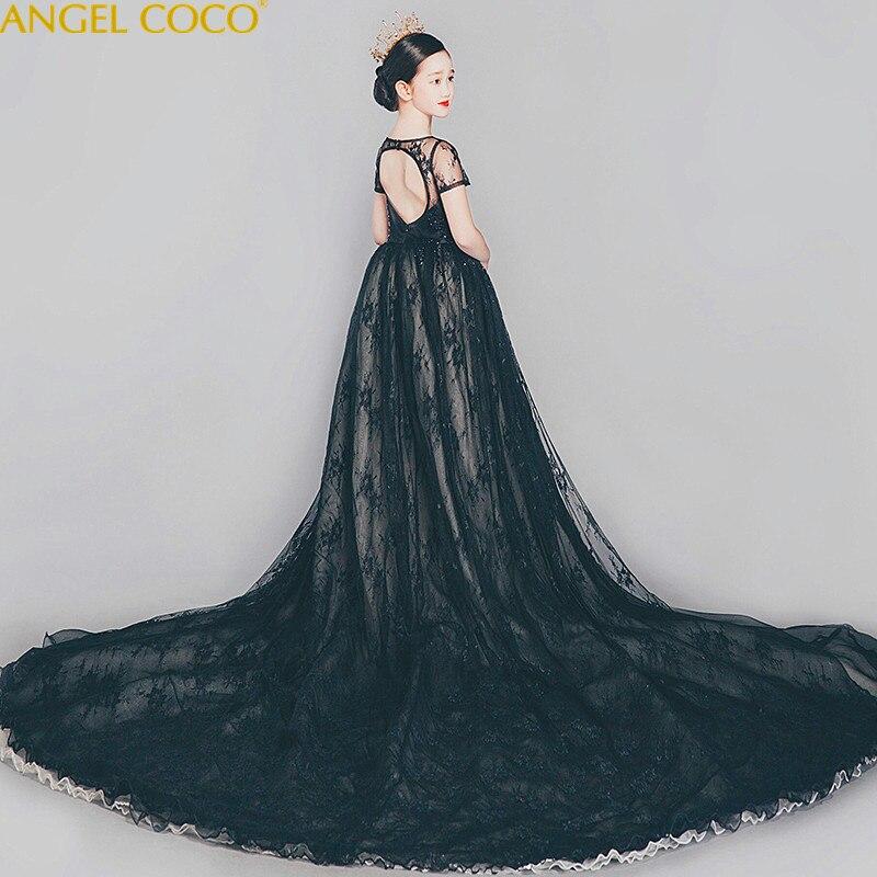 High End девочек Свадебная вечеринка платье с цветочным узором для девочек невесты одежда принцессы платья для девочек подростков черного тюл