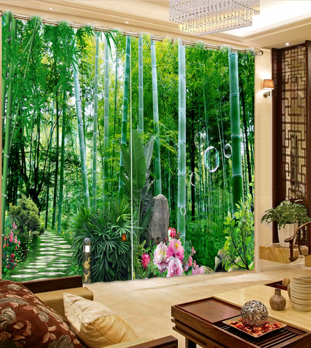 window customize 3d cortains Bamboo scenery curtain living room bedroom windows home decor curtains   window customize 3d cortains Bamboo scenery curtain living room bedroom windows home decor curtains