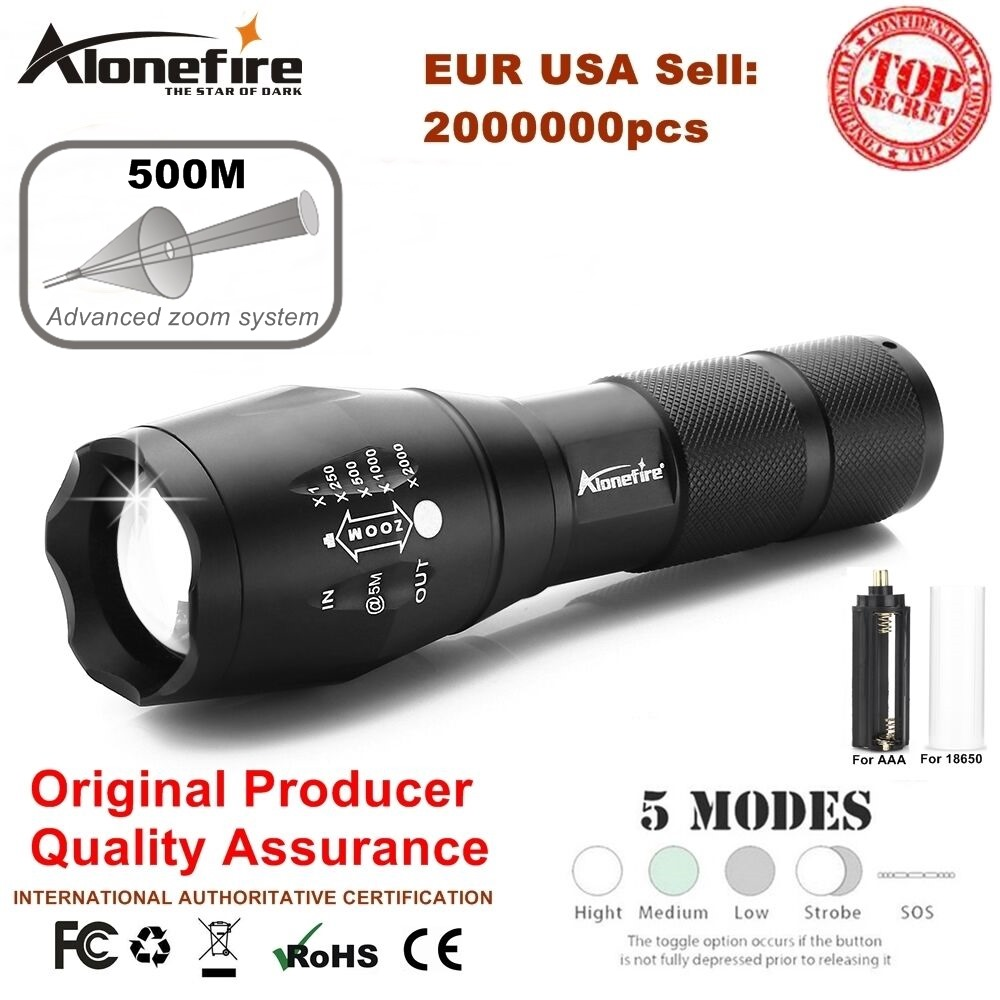 AloneFire E17 XM-L T6 5000LM Impermeabile di Alluminio Zoomable CREE LED Torcia flashlight luce per 18650 Batteria Ricaricabile o AAA