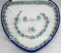 New Listed !Free Shipping 6x8MM Bead Light green Jades Necklace Bracelet Earring Jewelry Set + Box jade crystal
