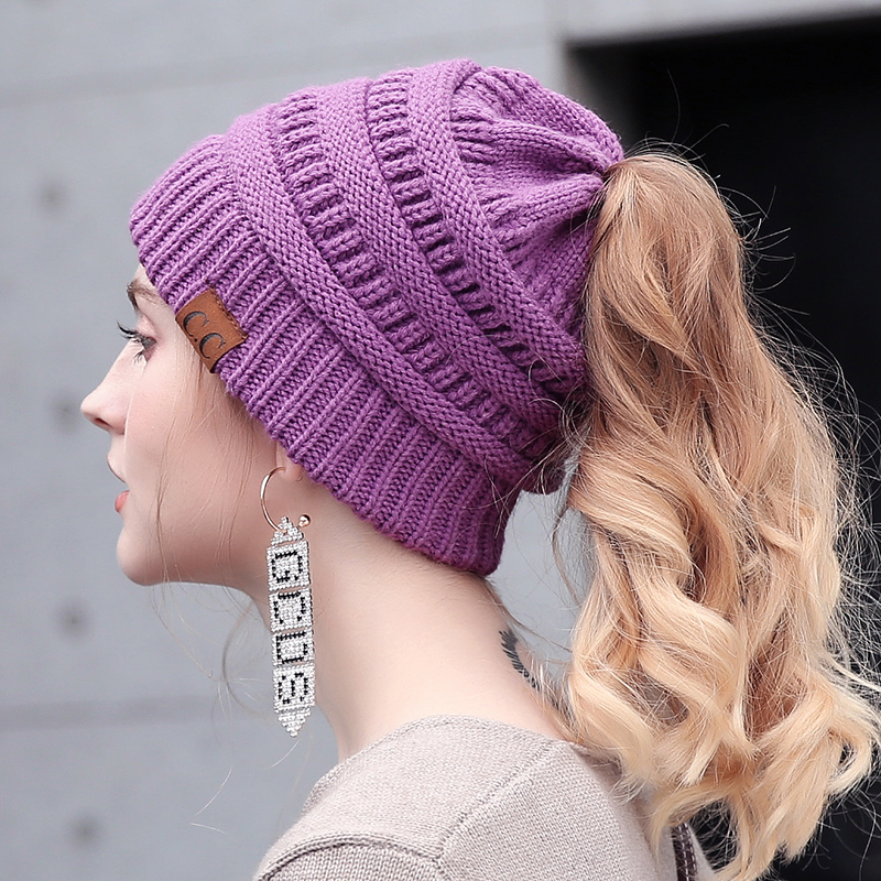 7237ec6a Drop Shipping CC Messy Bun Ponytail Beanie Hat Women Crochet Knit Cap  Winter Skullies Beanies Knitted Stylish Hats For Ladies