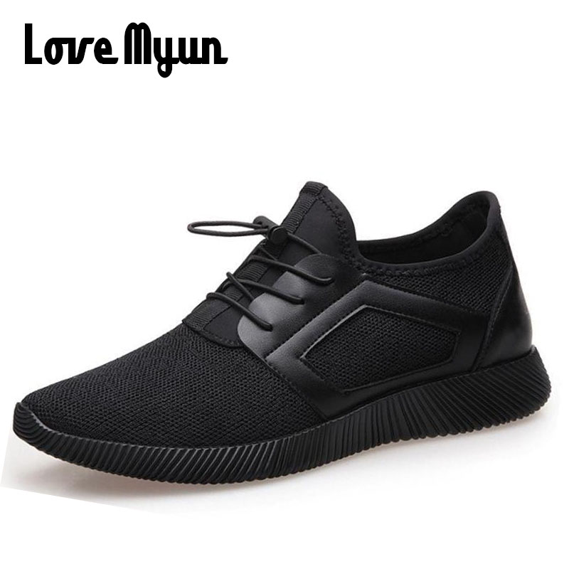 2018 New Men ALL Black Gym Shoesr Mens Breathable Designer Sneakers male air Mesh  Breathable flats shoes II-66