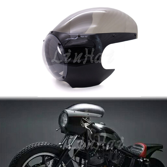 Motorcycle Black Headlight Fairing Windshield Vintage Drag Racing Viper Cafe Racer