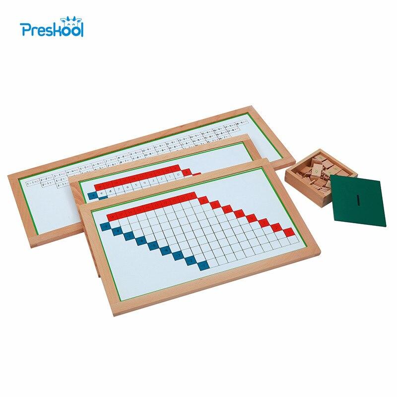 Montessori enfants jouet soustraction graphiques de travail avec cadre pour l'éducation de la petite enfance enfants d'âge préscolaire Brinquedos Juguetes