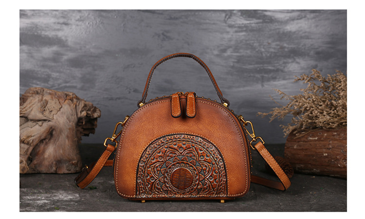 18 Luxury Women Genuine Leather Handbags Ladies Retro Elegant Shoulder Messenger Bag Cow Leather Handmade Womans Bags 7