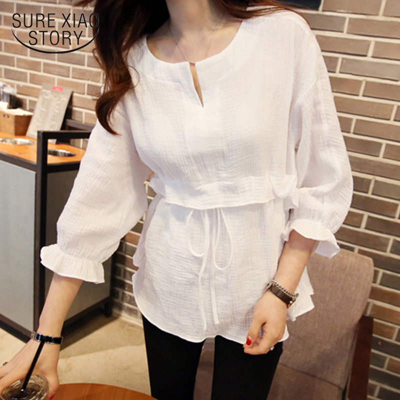 2019 new spring fashion women clothing long sleeved blouses o-neck white shirt style lady white solid women tops  D543 30