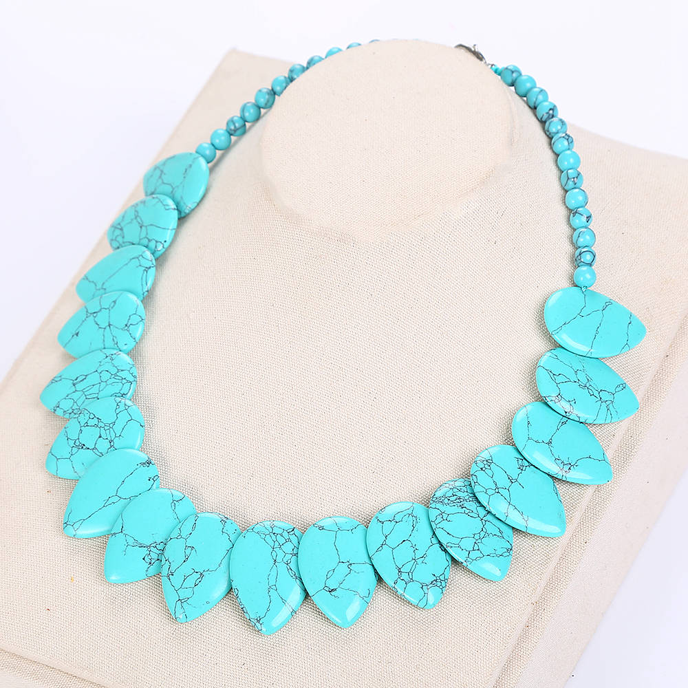 Female Long Pearl Water Drops Turquoise Necklace Leaf Choker Flower Charm Jewelry Women Love Necklace Turquoise Accessories New купить в Москве 2019