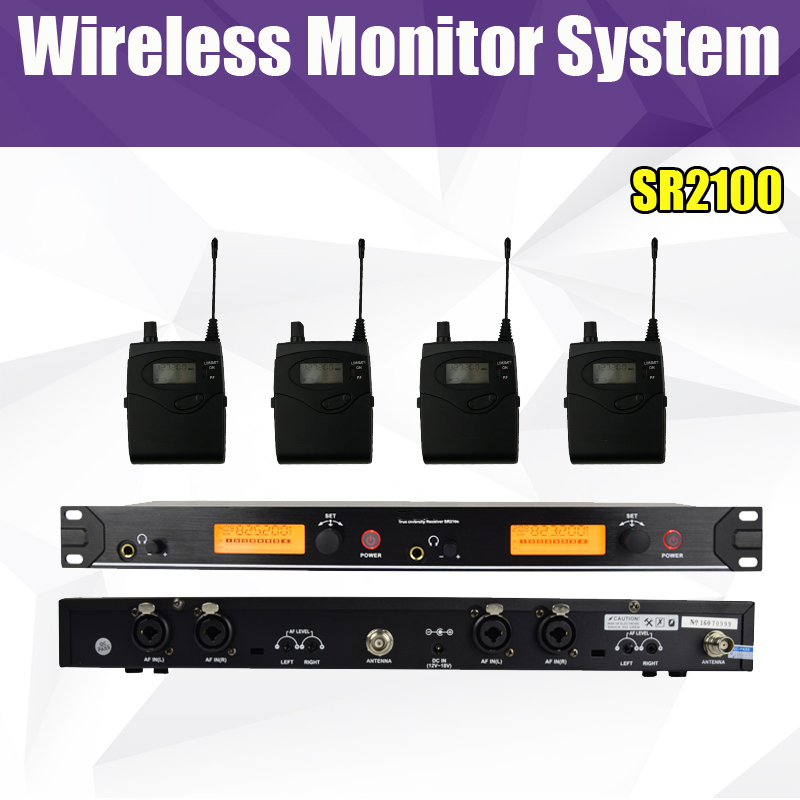 SR 2100 IEM SR2100 In Ear Monitor System 2 Channel 4 Bodypack Monitoring with in earphone wireless wireless stage monitor system image