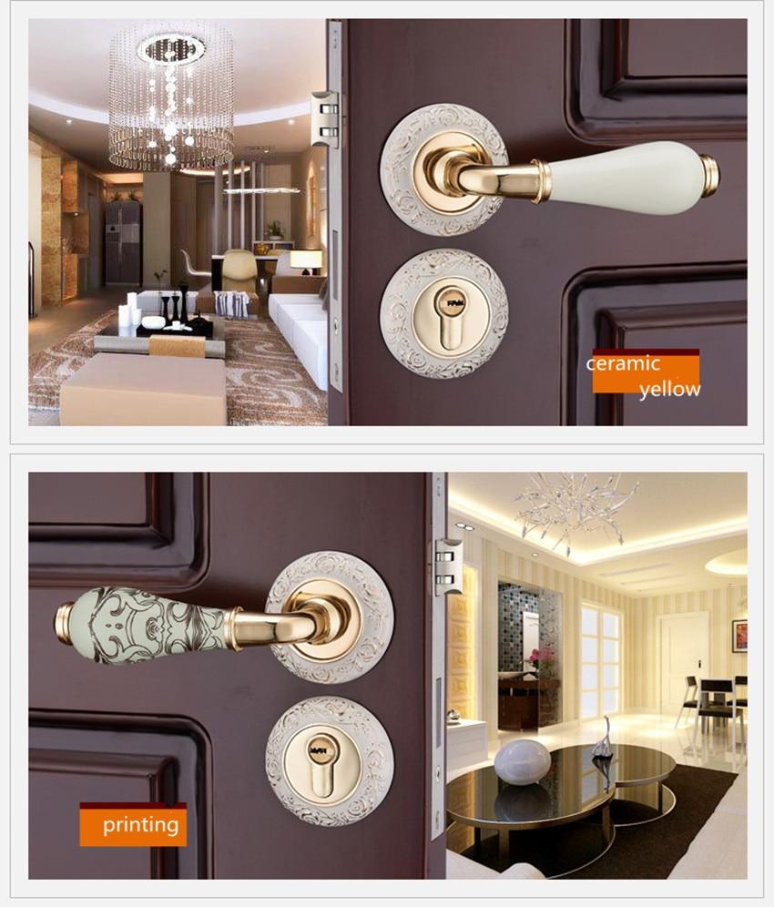European fashion creative ivory white interior solid wooden door lock printing ceramic bedroom mechanical split mute door lock цена