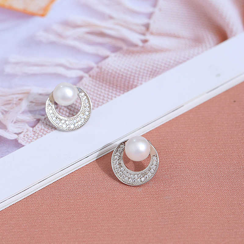 DAIMI 925 Silver Jewelry Box Package Freshwater Pearl Earrings Sets Rose Quartz Chalcedon Gemstones Cherry Blossom Jewelry