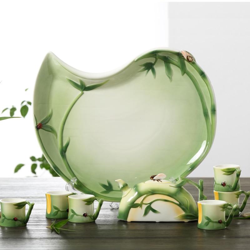 Ручная роспись эмаль фарфоровая Чай Набор бамбуковых дизайн, эмаль Искусство Чай горшок и Чай чашки для друга роскошный подарок