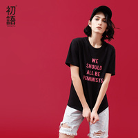 Toyouth Women T Shirts 2018 Summer New Casual T Shirt Cotton Letter Printed Short Sleeve O