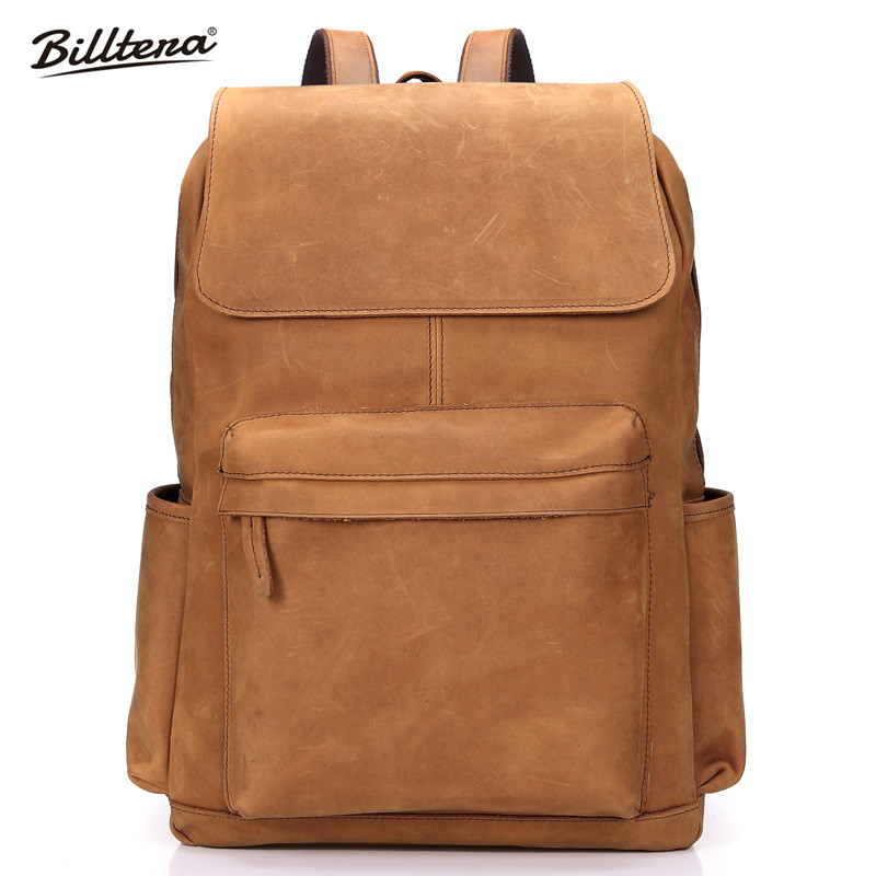 Billtera New Mens Backpack Brown Color Large Capacity Crazy Horse Travel Bag Genuine Leather European Bag Free Shipping