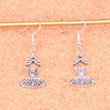 Handmade Antique Silver Color ballet tutu dress ballerina skirt Charm Drop Earring for Women(China)