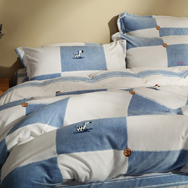 Blue And White Plaid Flannel Duvet Cover Set Cartoon Horse Duvet Cover  Stripes Fleece Bed Sheets