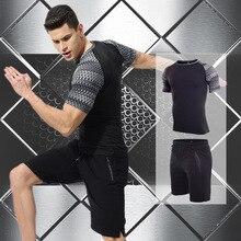Summer Men Sport Sweat Suit Short Sleeve T-shirt Sweatshirt+pant Running Jogger Exercise Workout Outfit Casual Set Sportswear