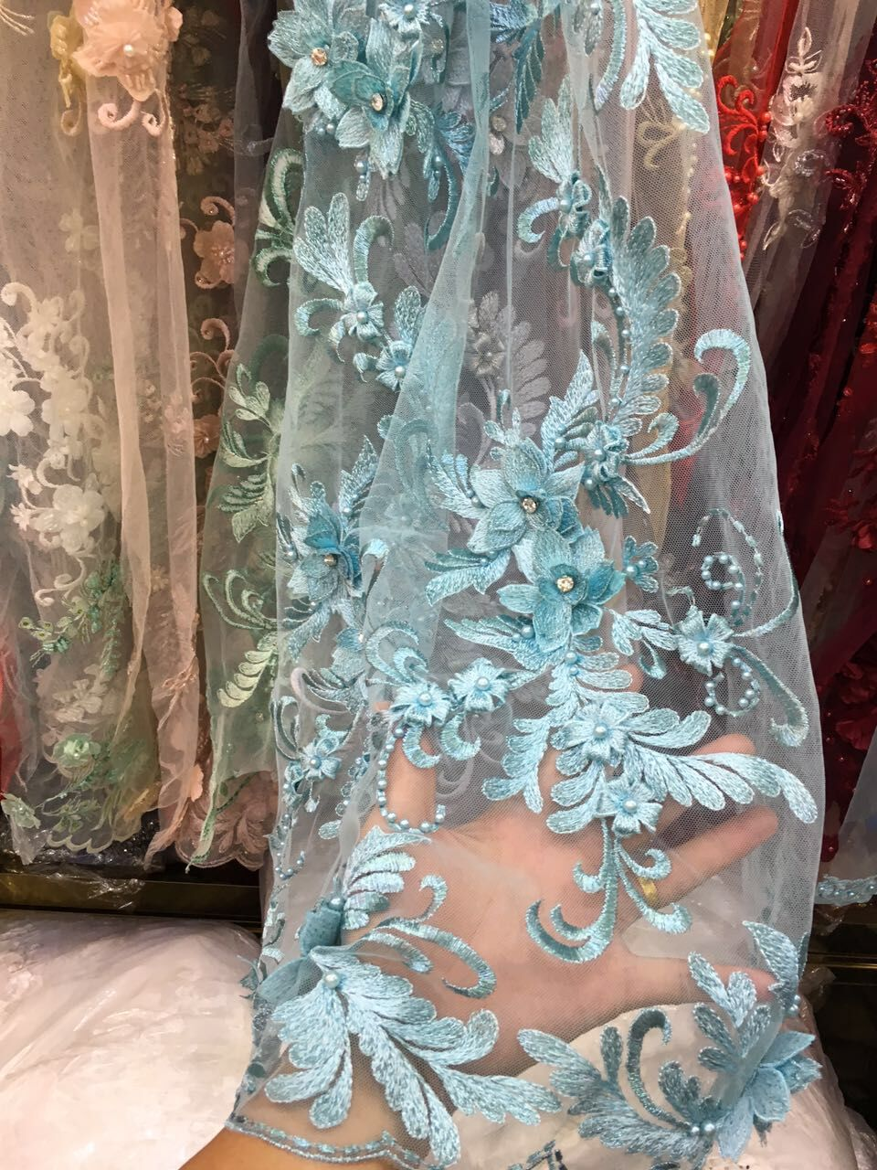 Embroidery flower French Lace Fabric with beads SYJ 4211 Latest African Tulle Lace Fabric