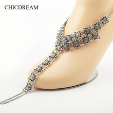 CHICDREAM Long Summer Vacation Anklets Bracelet Toe Sandal Sexy Leg Chain Women Boho Crystal Anklet Statement Jewelry